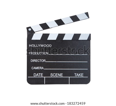 Close-up of a classical movie clapper ready to record a new Hollywood production  with blank spaces for director  camera  date  scene and take  isolated on white background - stock photo
