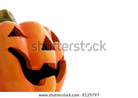 Close up of a clay Halloween pumpkin