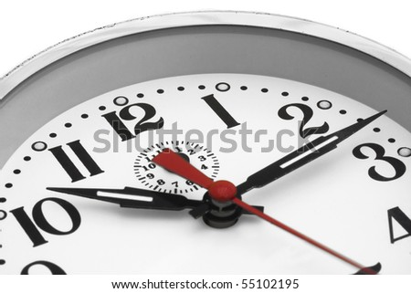 close up of a clock face on a white background - stock photo