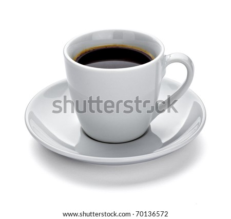 close up of a coffee cup on white background with clipping path - stock photo