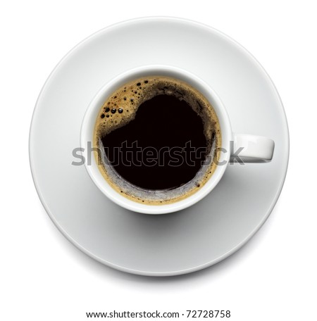 close up of a coffee cup on white background with clipping path