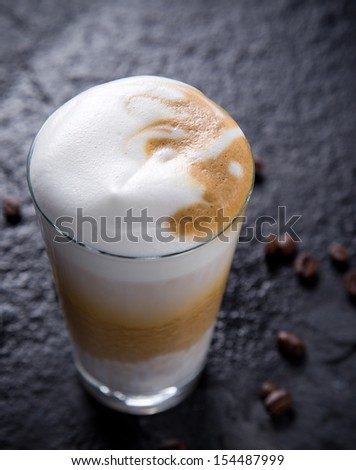 Close-up of a coffee macchiato - stock photo