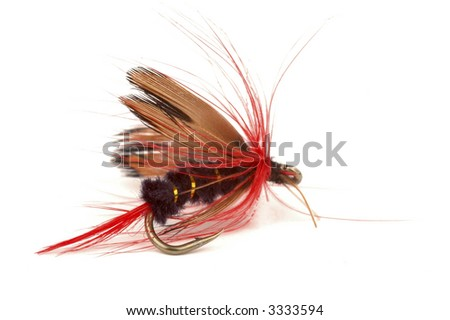 Close-up of a colorful fishing fly on a white background. - stock photo
