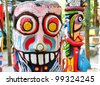 close up of a colorful totem . - stock photo