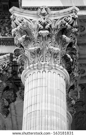 Close up of a column of the Panthon in Paris