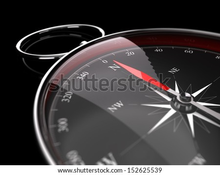 Close up of a compass with needle pointing the north, image over black background decorative element for the bottom right of a page. Concept for advice or assistance.