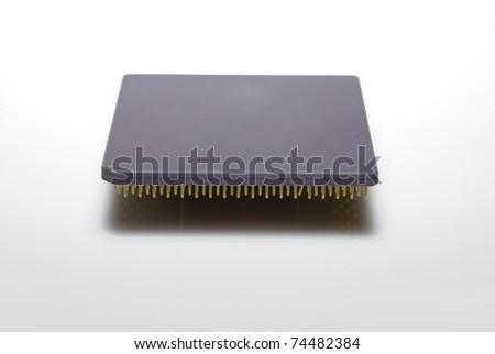 Close-up of a computer chips intel pentium processor - stock photo