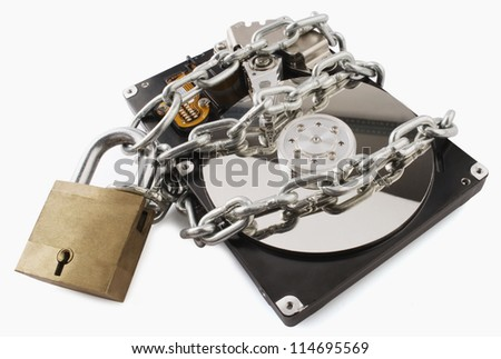 Close-up of a computer hard disk locked - stock photo