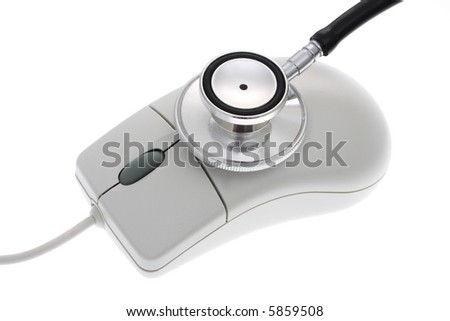close-up of a computer mouse with stethoscope - computerized healthcare
