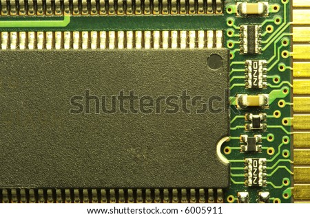 close up of a computer RAM memory chip. - stock photo