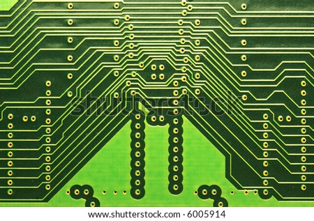 close up of a computer RAM memory circuit line patterns. - stock photo