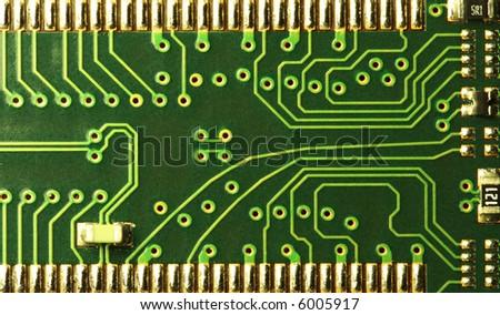 close up of a computer RAM memory circuit patterns - stock photo