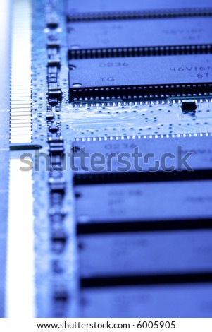close up of a computer RAM memory in blue color. - stock photo