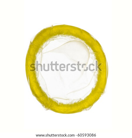 close up of a condom on white background - stock photo