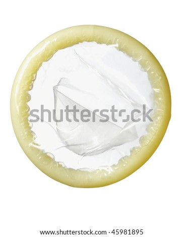 close up of a condom on white background with clipping path - stock photo