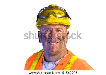 Close up of a construction utility worker wearing protective workwear to emphasize safety.
