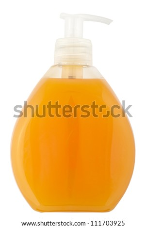 Close up of a cosmetics bottle (plastic) isolated on white with clipping path - stock photo