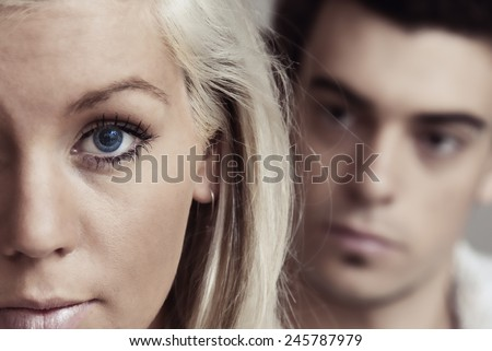 Close up of a couple face - stock photo