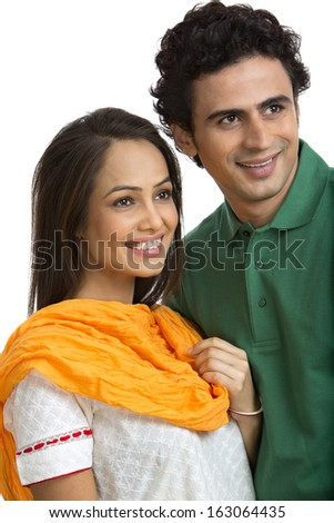 Close-up of a couple smiling - stock photo