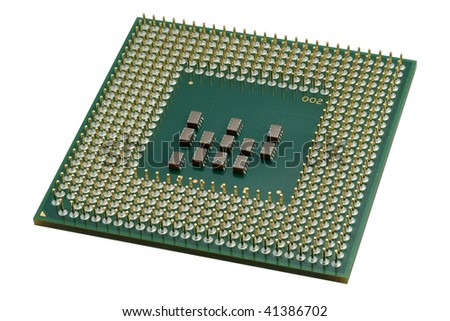 Close up of a CPU processor isolated on white. Large depth of field. - stock photo
