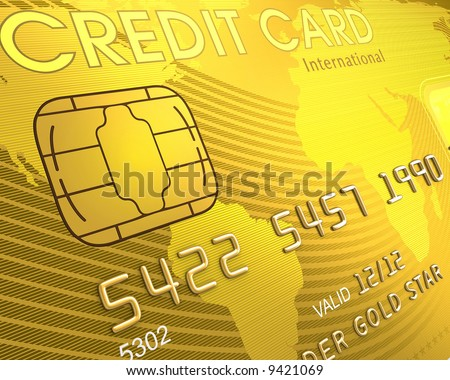 Close up of a credit card. The world map on the card, symbolizing the scope of the card in the world.