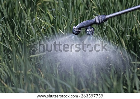 Close Up of a Crop Sprayer, nozzle spraying fertilizer on crop - stock photo