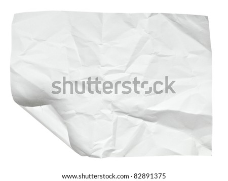 close up of  a crumpled paper with curled edge on white background - stock photo