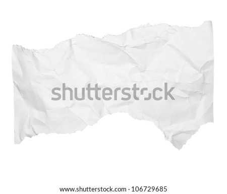 close up of  a crumpled piece of paper on white background - stock photo
