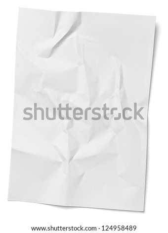 close up of  a crumpled unfolded piece of paper on white background - stock photo
