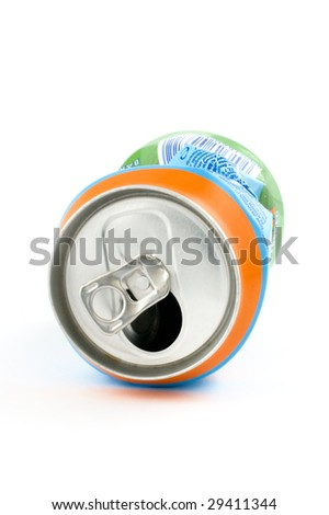 Close up of a crushed can on white background.