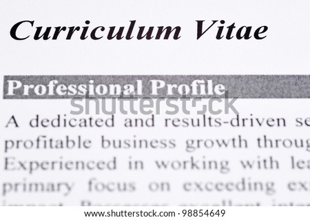 Close up of a Curriculum Vitae with professional profile - stock photo
