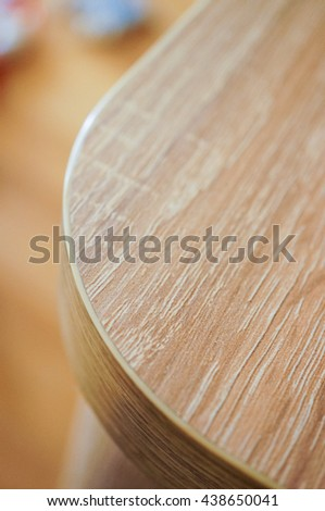 Close up of a curvey table corner