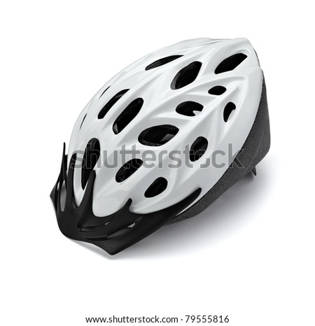 close up of  a cycling helmet on white background with clipping path - stock photo
