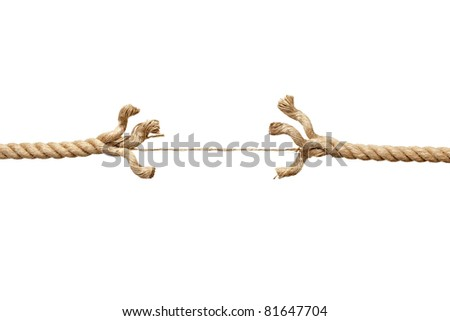 close up  of a damaged rope on white background with clipping path - stock photo