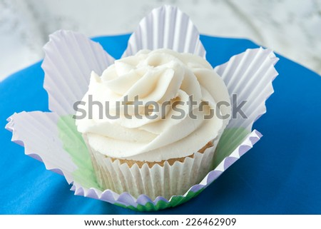 Close up of a decadent gourmet cupcake with vanilla frosting.  - stock photo
