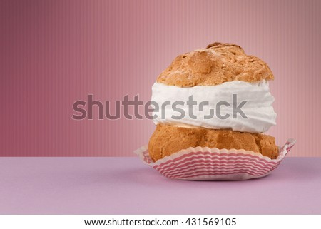 Close up of a delicious cake on colorful background with copyspace - stock photo