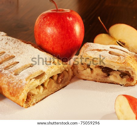 Close-up of a delicious homemade apple strudel. - stock photo