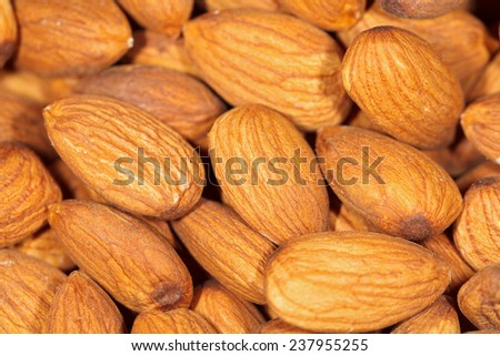 Close up of a  delicious organic raw dried almonds