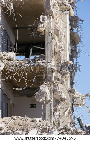 Close-up of a demolished office building - stock photo