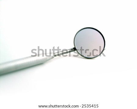 Close-up of a dental mirror