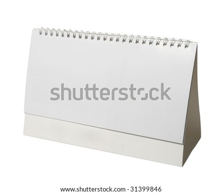 close up of a desk calendar on white background with clipping path
