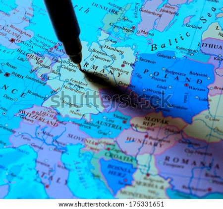 Close up of a detailed world map - stock photo