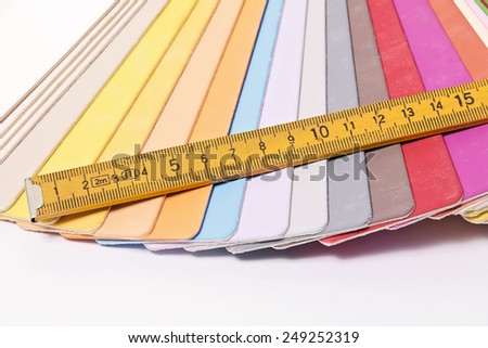 Close up of a different color palette and metric folding ruler