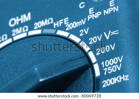 Close-up of a digital multimeter measurement switch - stock photo