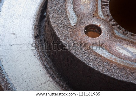Close-up of a dirty brake disk - stock photo