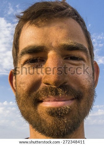 Close up of a dirty faced miner. - stock photo