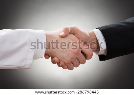 Close-up Of A Doctor And Businessman Shaking Hand - stock photo