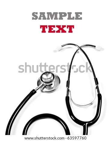 Close up of a doctor's stethoscope in blue on a white background with space for text - stock photo
