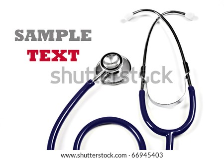 Close up of a  doctor's stethoscope on a pure white background with space for text - stock photo