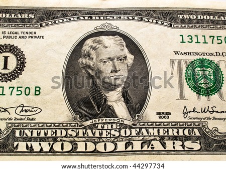 close up of a 2 dollar bill